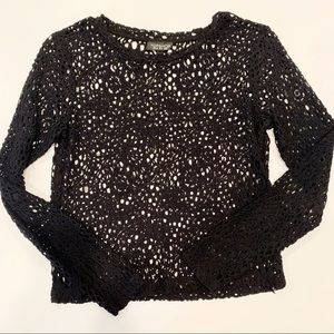 TOPSHOP | Long Sleeve Lace Pattern Mesh Top